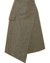 Brunello Cucinelli - Wrap-effect Metallic Cotton-blend Twill Skirt - Lyst