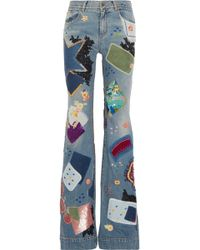 Roberto Cavalli - Patchwork Flared Jeans - Lyst