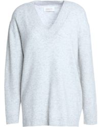 Zimmermann | Mélange Stretch-knit Jumper Light Grey | Lyst