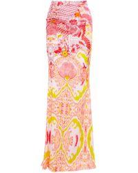 0c13dd8283 Roberto Cavalli - Ring-embellished Printed Stretch-silk Satin Maxi Skirt -  Lyst