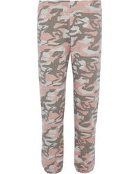 Monrow - Woman Printed French Cotton-blend Terry Track Pants Taupe Size Xs - Lyst