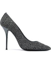 Casadei - Leather-trimmed Metallic Macramé Court Shoes - Lyst