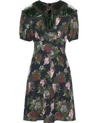 Anna Sui - Cutout Velvet-paneled Floral-print Silk Dress Dark Green - Lyst