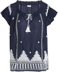 Joie - Embellished Embroidered Cotton-gauze Top - Lyst
