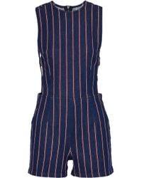 3x1 - Cutout Striped Denim Playsuit Midnight Blue - Lyst