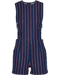 3x1 - Cutout Striped Denim Playsuit - Lyst