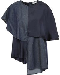 CLU Panelled Chambray And Satin-twill Top Navy - Blue