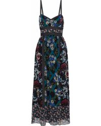 Anna Sui - Woman Denim-trimmed Floral-print Silk Maxi Dress Multicolour - Lyst
