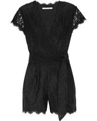 Diane von Furstenberg - Purdette Wrap-effect Corded Lace Playsuit - Lyst