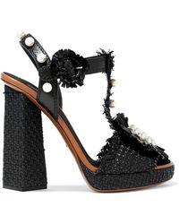 Dolce & Gabbana - Embellished Raffia And Leather Platform Sandals - Lyst
