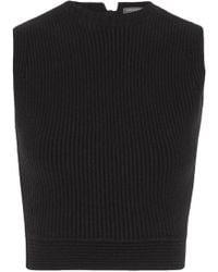 Alexander McQueen Cropped Ribbed Wool-blend Top Black