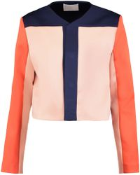Solace London - Andi Cropped Printed Satin-twill Jacket - Lyst