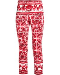 Dolce & Gabbana - Cropped Printed Silk-blend Slim-leg Trousers - Lyst