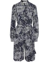 3f0f90fd1e Diane von Furstenberg - Woman Floral-print Silk Crepe De Chine Playsuit  Navy - Lyst