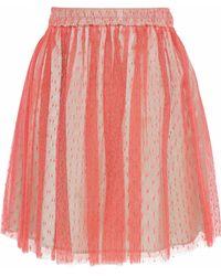 RED Valentino - Pleated Point D'esprit Mini Skirt - Lyst
