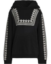 Needle & Thread - Embellished Embroidered Cotton-blend Hooded Sweatshirt - Lyst