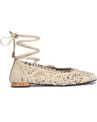 Paloma Barceló - Lace-up Woven Jute Ballet Flats - Lyst