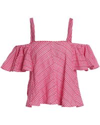 W118 by Walter Baker - Riley Cold-shoulder Embroidered Gingham Cotton Top - Lyst