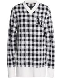 Christopher Kane - Appliquéd Checked Wool And Cashmere-blend Sweater - Lyst