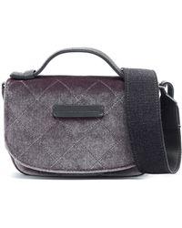 Brunello Cucinelli - Leather-trimmed Quilted Velvet Shoulder Bag - Lyst