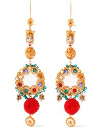 Dolce & Gabbana - Gold-tone, Resin, Cord And Crystal Earrings Gold - Lyst