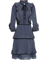Mikael Aghal Lace-trimmed Ruffled Georgette Dress Storm Blue