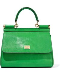 be4d542b51 Dolce   Gabbana - Woman Sicily Mini Lizard-effect Leather Shoulder Bag  Green - Lyst