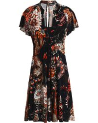Just Cavalli - Flared Ruffled Printed Stretch-jersey Dress - Lyst