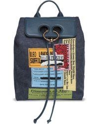 JW Anderson - Woman Pierce Leather-paneled Appliquéd Canvas Backpack Storm Blue Size -- - Lyst