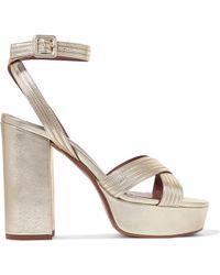 Tabitha Simmons - Metallic Leather Platform Sandals - Lyst