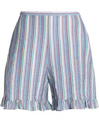 See By Chloé - Ruffle-trimmed Striped Cotton-blend Seersucker Shorts - Lyst