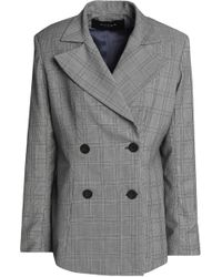 Paper London - Double-breasted Prince Of Wales Checked Wool-blend Blazer - Lyst