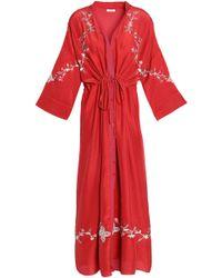 Vilshenko - Gathered Embroidered Silk-satin Midi Dress - Lyst