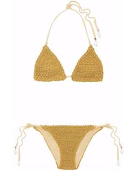 Stella McCartney - Metallic Crocheted Halterneck Bikini - Lyst