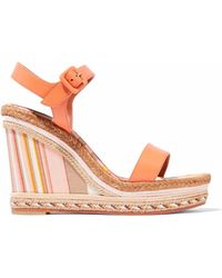 Valentino - Leather Platform Espadrille Wedge Sandals - Lyst
