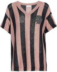 Brunello Cucinelli - Embellished Striped Linen And Silk-blend Jumper - Lyst