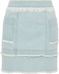 Nicholas - Frayed Denim Mini Skirt Light Denim - Lyst