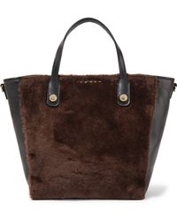 Sandro - Alana Leather And Shearling Tote - Lyst