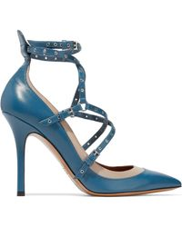 Valentino - Love Latch Eyelet-embellished Two-tone Leather Court Shoes Cobalt Blue - Lyst