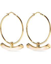 Noir Jewelry - Woman Crescent 14-karat Gold-plated Resin Hoop Earrings Gold - Lyst