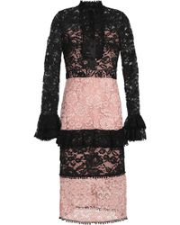 Alexis - Two-tone Corded Lace Dress Antique Rose - Lyst
