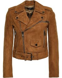 Theory - Woman Suede Biker Jacket Light Brown - Lyst
