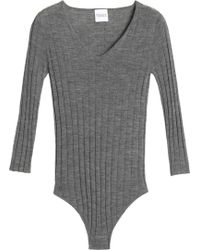 Madeleine Thompson - Mélange Ribbed Wool And Cashmere-blend Bodysuit Dark Gray - Lyst