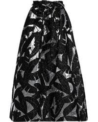 Oscar de la Renta - Metallic Jacquard Midi Skirt - Lyst