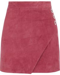 Michelle Mason - Woman Wrap-effect Suede Mini Skirt Pink - Lyst