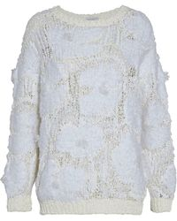 76f544990d Lyst - Brunello Cucinelli Cropped Fringed Open-knit Sweater