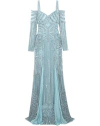 Zuhair Murad - Woman Cold-shoulder Embellished Silk-bend Lace Gown Sky Blue - Lyst