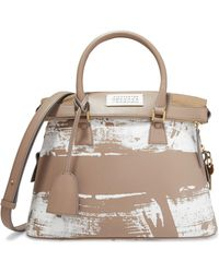 Maison Margiela - Printed Leather And Twill Shoulder Bag - Lyst