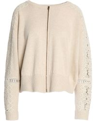 Chloé - Crochet-trimmed Merino Wool And Cashmere-blend Cardigan - Lyst