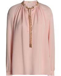 MICHAEL Michael Kors - Chain-embellished Gathered Silk Crepe De Chine Blouse Baby Pink - Lyst